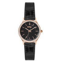 Lee Cooper Women's Analog Rose Gold Case Black Leather Strap Black Dial -LC06302.451