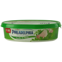 Philadelphia Light Medium Fat Soft Cheese Garlic And Herbs 170g