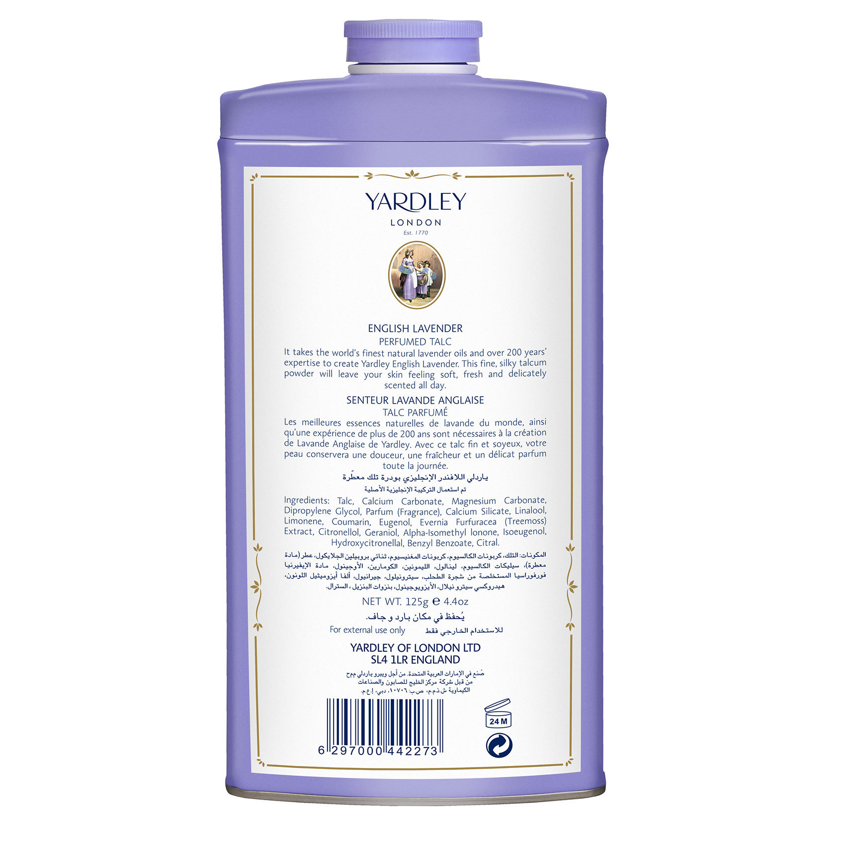 YARDLEY TALC LAVENDER 125GM