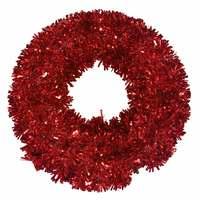 Wreath Tinsel Deco Red 40Cm