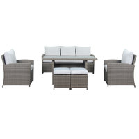 Jenny Wicker 6Pc Dining Set With Grey Cushions