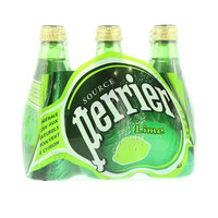 Perrier Natural Sparkling Mineral Water Lime Glass Bottle 200mlx6