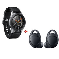 "Samsung Galaxy Watch (46mm) 1.3"" SM-R810N Black Silver + Samsung Bluetooth IconX 2018 R140 Black"