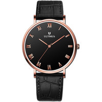 Ultimus Men's Watch Analog Display Black Dial Black Genuine Leather Strap - U7003-RLBB
