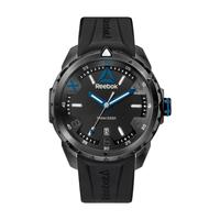 Reebok Men's Watch Impact Analog Black Dial Black Silicon Band 44.5mm  Case