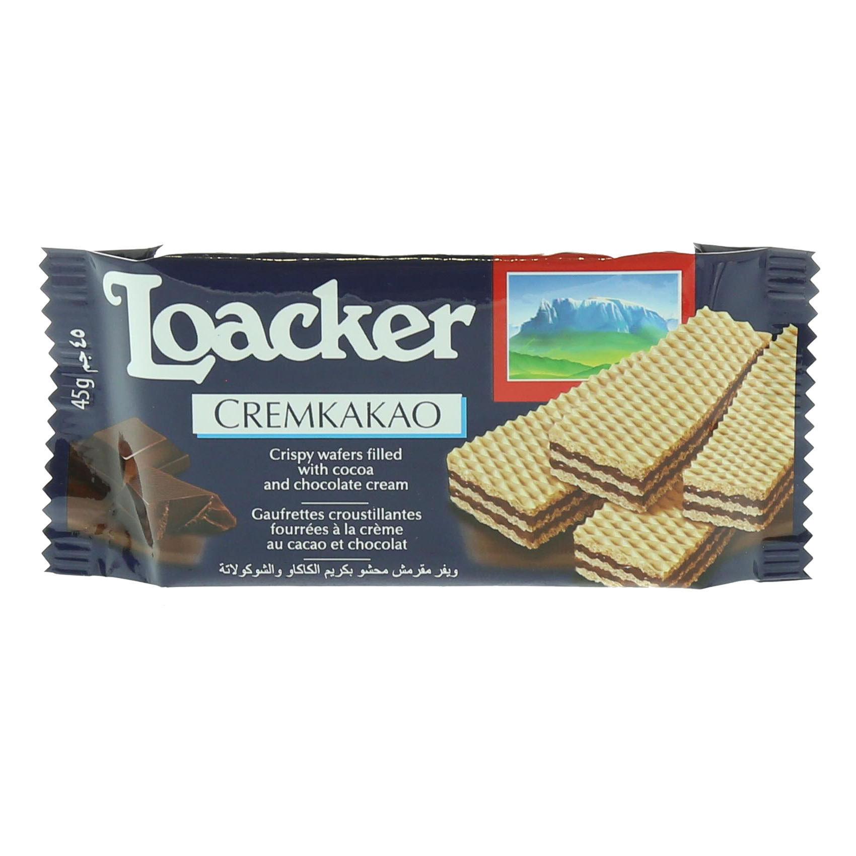 LOACKER COCOA CREAM WAFERS 45GR