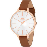 Slazenger Women's Analog Display Silver Dial Brown Leather Strap - SL.9.6042.3.01
