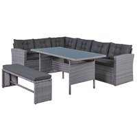 Maria Wicker Corner Set 4Pcs With  Cushions (Delivered within 7 business days)
