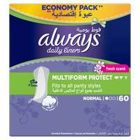 Always Daily Liners Comfort Protect Normal Fresh Scent Multiform Protect 60 Count