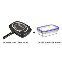 Double Grillpan 36Cm+Glass Storage 0.4L With Lid