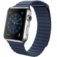 Apple Iwatch Large 42mm Stainless Steel Case With Midnight Blue Leather Loop