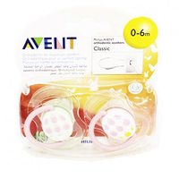 Philips Avent 2 Classic Fashion Soothers 0-6 Monthes
