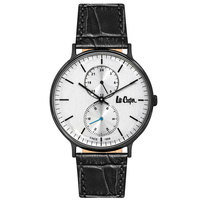 Lee Cooper Men's Watch Analog Display Silver Dial Black Leather Strap - LC06381.661