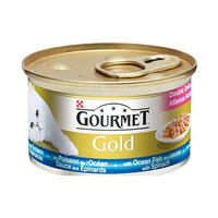 Gourmet Gold Cat Foods Ocean Fish In A Sauce With Spanich 85GR