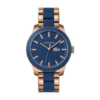 Lacoste Men's Watch L12.12 Analog Blue Dial Rose Gold Mixed Metal Band 43mm  Case