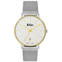 Lee Cooper Men's Analog TT Gold Case Silver Super Metal Strap White Dial -LC06382.230