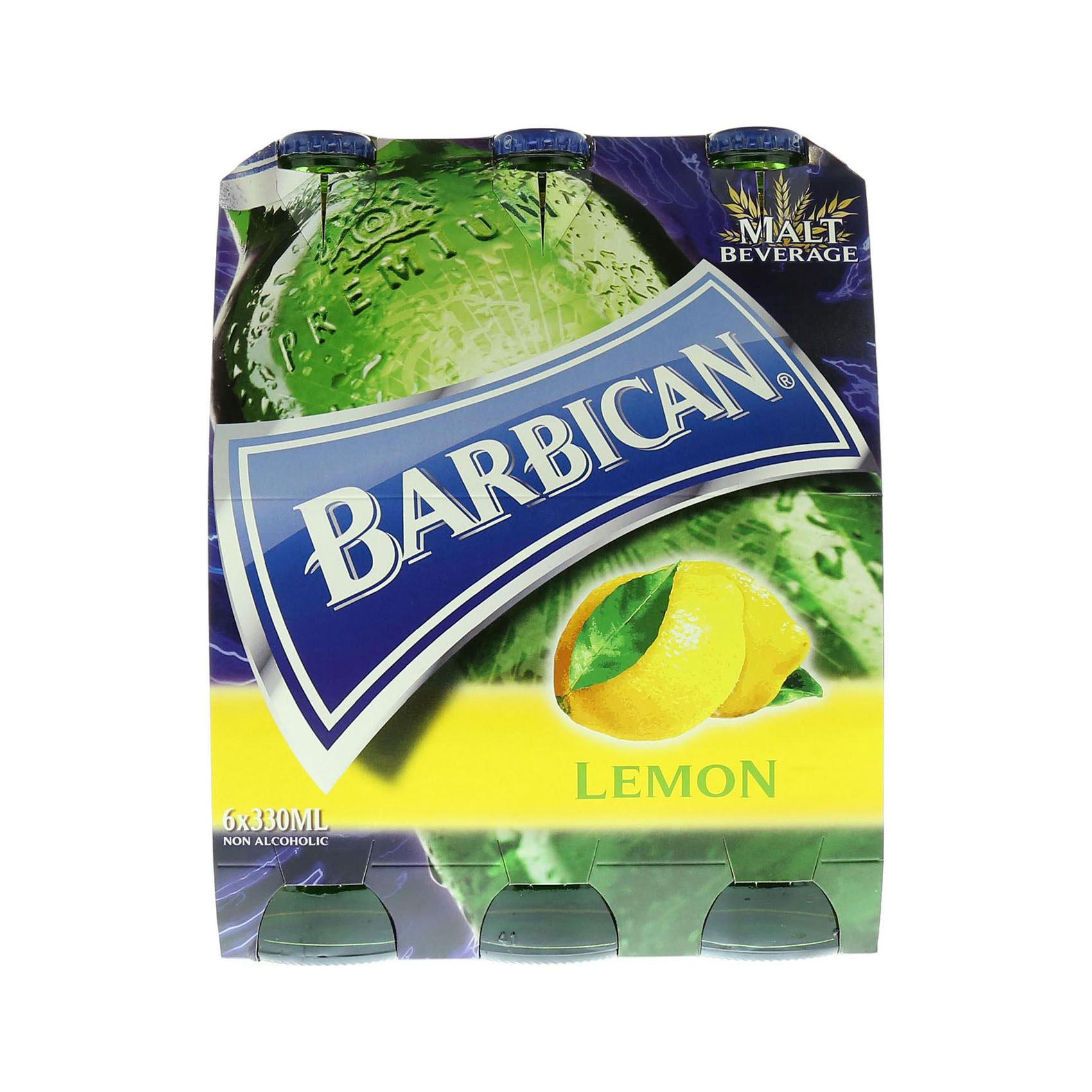 BARBICAN N/ALCO BEER LEMON 330MLX6