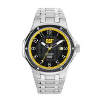 CAT Men's Watch Navigo Carbon Date Analog Black Dial Silver Metal Band 44mm  Case