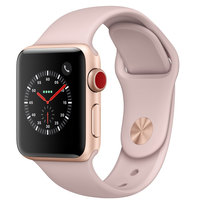 Apple Watch Series-3 42mm GPS+ Cellular Gold Aluminium Case With Pink Sand Sport Band (MQKP2AE/A)