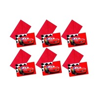 Disney Invitation Card Red Cars 6 Pieces