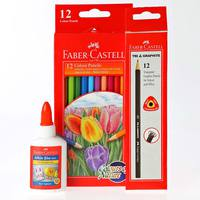 Faber-Castell Cp12 + Black Led Pencil 12Pcs + Glue 100Ml