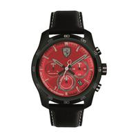 Scuderia Ferrari Men's Watch Primato Analog Red Dial Black Nylon Strap Band 44mm Case