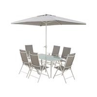 Texteline ECM Table + 6 Chairs + Umbrella
