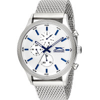 Slazenger Men's Multifunction Display White Dial Silver Stainless Steel Bracelet - SL.9.6005.2.01