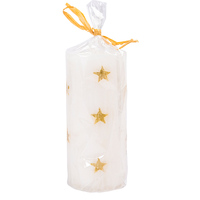 Christmas White Pilar Candle with Gold 6x10cm
