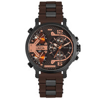 Lee Cooper Men's Multi-Function Black Case Brown Resin Strap Brown Dial -LC06368.642