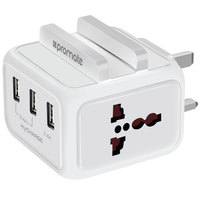Promate Charger Home UK 7.2A 3Port /white