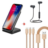 Xcell Wireless Charger + Bluetooth Head set SHS-101 + 3 In 1 Cable
