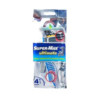 Supermax Ultimate 3 Blue Razors Silver Pack Of 4