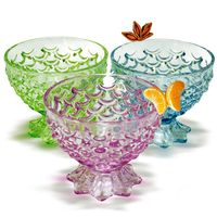 Glass Bowl Assorted Color 3Pc 21Cl